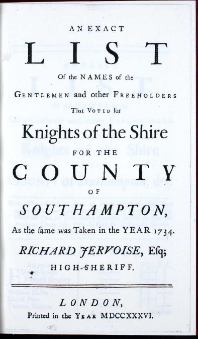 Electoral roll Hampshire 1734 FP 2