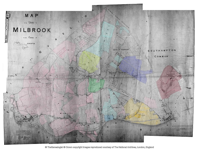 Millbrook Tithe Map coloured with some Landowners