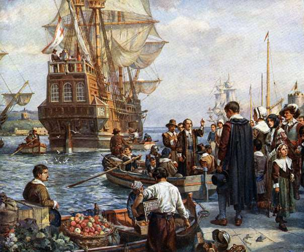 Bernard Gribble: Mayflower Pilgrim Fathers boarding the Mayflower